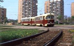 """ДС """"Зеленый луг"""" 17 мая 1987 года. На фото трамвай РВЗ-6М2"""